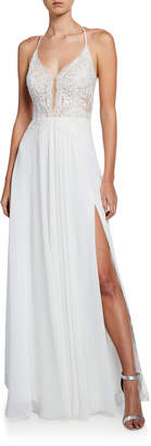 Faviana Lace Top Halter Gown with Lace-Up Back & Thigh-Slit
