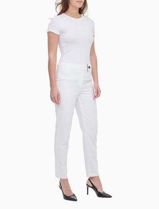 Calvin Klein Solid Straight Leg Zip Pocket Pants