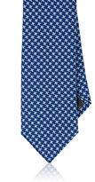 Barneys New York Men's Houndstooth Silk-Wool Necktie-NAVY