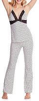 Betsey Johnson Sketchy Heart-Print Jersey & Lace Racerback Pajamas