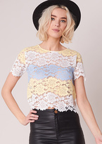 Missy Empire Marina Yellow Striped Floral Lace Crop Top