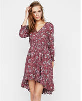 Express floral smocked waist ruffle wrap dress