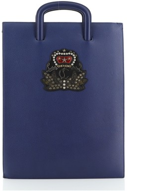 Christian Louboutin Trictrac Portfolio Bag Embroidered Studded Leather Large