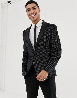 ASOS DESIGN super skinny tuxedo blazer in black velvet with glitter