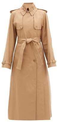 Gabriela Hearst Lorna Double-breasted Pleated Cotton Trench Coat - Camel