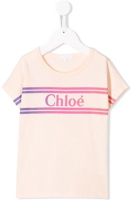 Chloé Kids short sleeve gradient logo print T-shirt