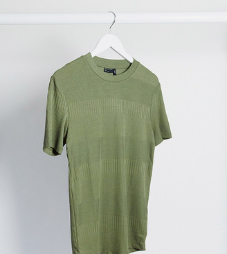 ASOS DESIGN Tall muscle fit t-shirt with fancy rib in green