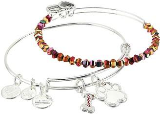 Alex and Ani Dog Bone and Paw Set of 2 Bangle Bracelet (Shiny Silver) Bracelet