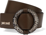 Just Cavalli Snake-effect and smooth leather belt