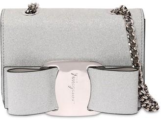Salvatore Ferragamo Bow Mini Glittered Shoulder Bag