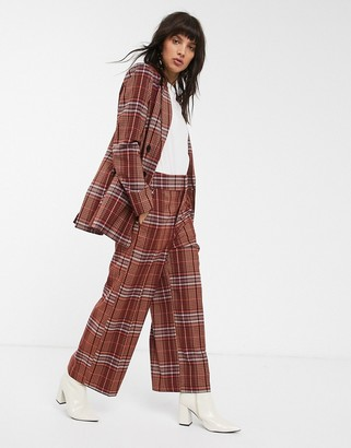 InWear Jael check wide leg trousers co-ord