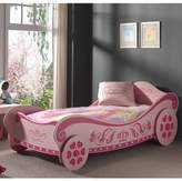Pink Royal Princess Single Car Bed & Spring Mattress