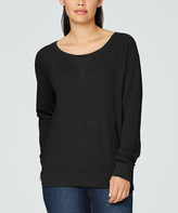 Yummie by Heather Thomson Black Kangaroo Pouch Boatneck Pullover