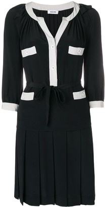 Moschino Pre Owned Contrast-Trim Pleated Dress