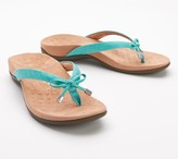 Vionic Leather Thong Sandals w/Bow - Bella II Woven