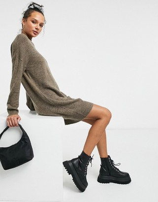 JDY sweater dress with high neck in brown