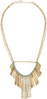 Lydell NYC Golden Fringe Bib Necklace w/ Blue Bead Accents