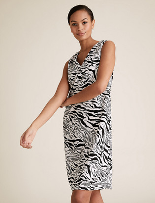 Marks and Spencer Linen Zebra Print Shift Dress
