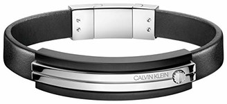 Calvin Klein Mighty Men's Black Leather Bracelet