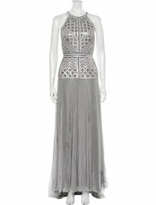 J. Mendel Silk Long Dress Grey