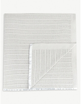 The Little White Company Babys Grey Cellular Cotton Cot Blanket