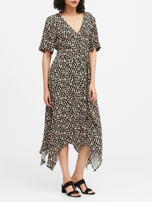 Banana Republic Petite Print Handkerchief-Hem Wrap Dress