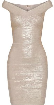 Herve Leger Crossover Metallic Bandage Mini Dress