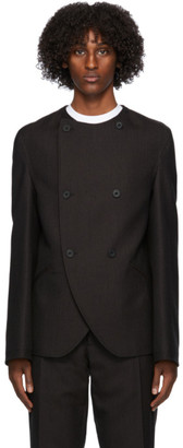 3MAN Brown Wool Collarless Blazer