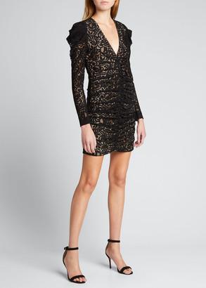Jonathan Simkhai Liv Corded Lace Long-Sleeve Ruched Dress