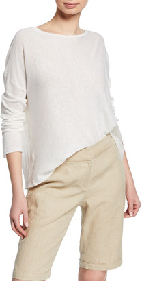 Eileen Fisher Petite Bateau-Neck Long-Sleeve Organic Linen/Cotton Sweater