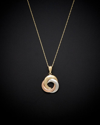 Italian Gold 14K Tri-Tone Love Knot Necklace