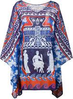 Mary Katrantzou Bluebird print beach poncho - women - Cotton - XS