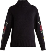 Muveil Floral cross-stitch embroidered sweater