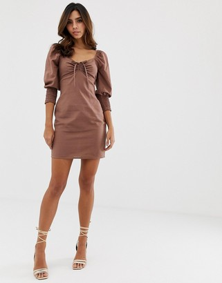 Asos Design DESIGN sweetheart neck mini dress with shirred cuffs-Brown