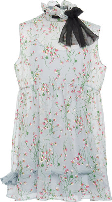 Miu Miu Tie-Detailed Floral-Print Georgette Mini Dress