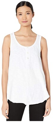 True Grit Dylan by Soft Slub Cotton Button Tank Top (White) Women's Clothing