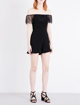 Sandro Lace-trimmed crepe playsuit