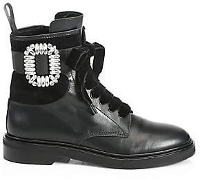 Roger Vivier Women's Viv Rangers Leather Combat Boots
