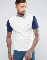 Fred Perry Slim Pique Polo Contrast Sleeve Tramline in White