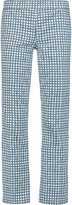 Tory Burch Cropped printed mid-rise straight-leg jeans