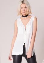 Missy Empire Hailey White Zip Up Split Detail Sleeveless Top