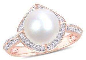 Macy's Freshwater Cultured Pearl (8.5-9mm) and Diamond (1/4 ct. t.w.) Vintage Halo Ring in 10k Rose Gold