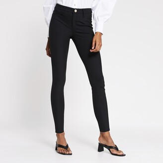 River Island Womens Black Molly mid rise trousers