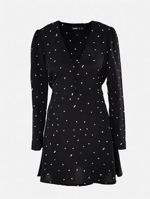 Missguided Half Button Dalmatian Tea Dress - Black
