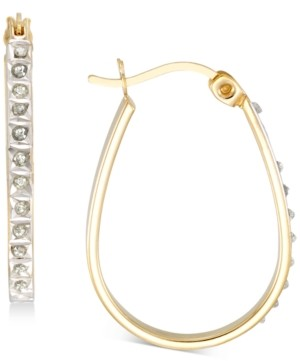 Giani Bernini Diamond Accent Oval Hoop Earrings in 18k Gold-Plated Sterling Silver, Created for Macy's