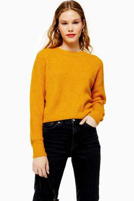 Topshop Womens Mustard Super Soft Pointelle Knitted Jumper - Mustard