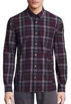 John Varvatos Slim-Fit Button-Down Collar Plaid Sport Shirt