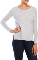 vertical design V-Neck Hi-Low Cashmere Sweater