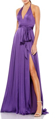 Mac Duggal Halter Satin Sheath Gown