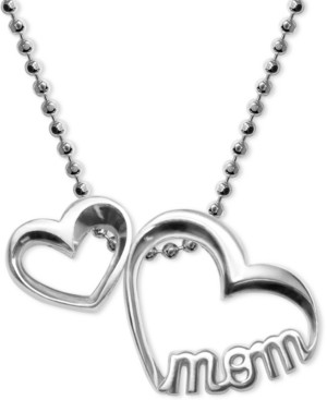 """Alex Woo Double Heart """"Mom"""" Pendant Necklace in Sterling Silver"""